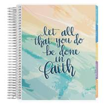 Erin Condren 12 - Month 2020-2021 Faith Quote Coiled Life Planner with Flower Power Interior (July 2020 - June 2021) Horizontal Weekly Layout. Organizer, Monthly Calendar Tabs and Stickers