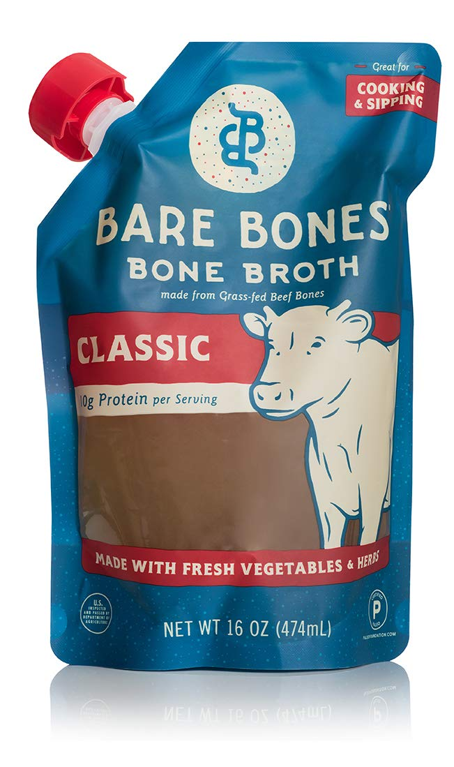 Bare Bones Beef Bone Broth for Cooking and Sipping, 100% Grass-Fed, Organic, Protein and Collagen Rich, Keto Friendly, 16 oz, Pack of 5