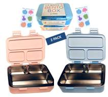 Metal Bento Box for Kids | MINI Stainless Steel Lunch Boxes for Baby Toddler or Pre-School | Small Eco Snack Containers for All Ages (Blue Pink 2 pack)