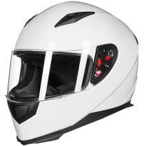 ILM Full Face Motorcycle Street Bike Helmet with Removable Winter Neck Scarf + 2 Visors DOT (M, White)