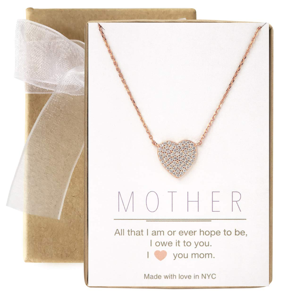 A+O Gift for Mom, Aunt, Grandma - CZ Heart Pendant Necklace in Sterling Silver, Gold Vermeil, Rose Gold Vermeil