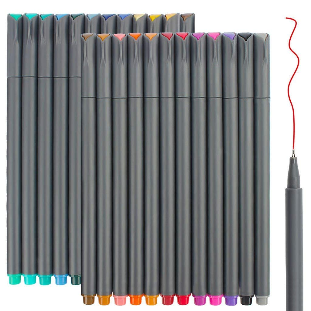 24 Fineliner Color Pens Set, Taotree Fine Line Colored Sketch Writing Drawing Pens for Journal Planner Note Taking and Coloring Book, Porous Fine Point Pens Markers, Perfect for Back to School Gift