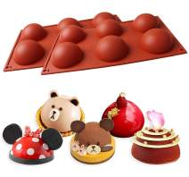 BYOMIGY 2 Pcs 6 Holes Silicone Sphere Baking Molds Chocolate Bombs Molds 6 Cavities Large Hemisphere Shape Silicone Bakeware for Easter Fondant Dome Mousse Cake Jelly Pudding Handmade Soap 29x17x3.3cm