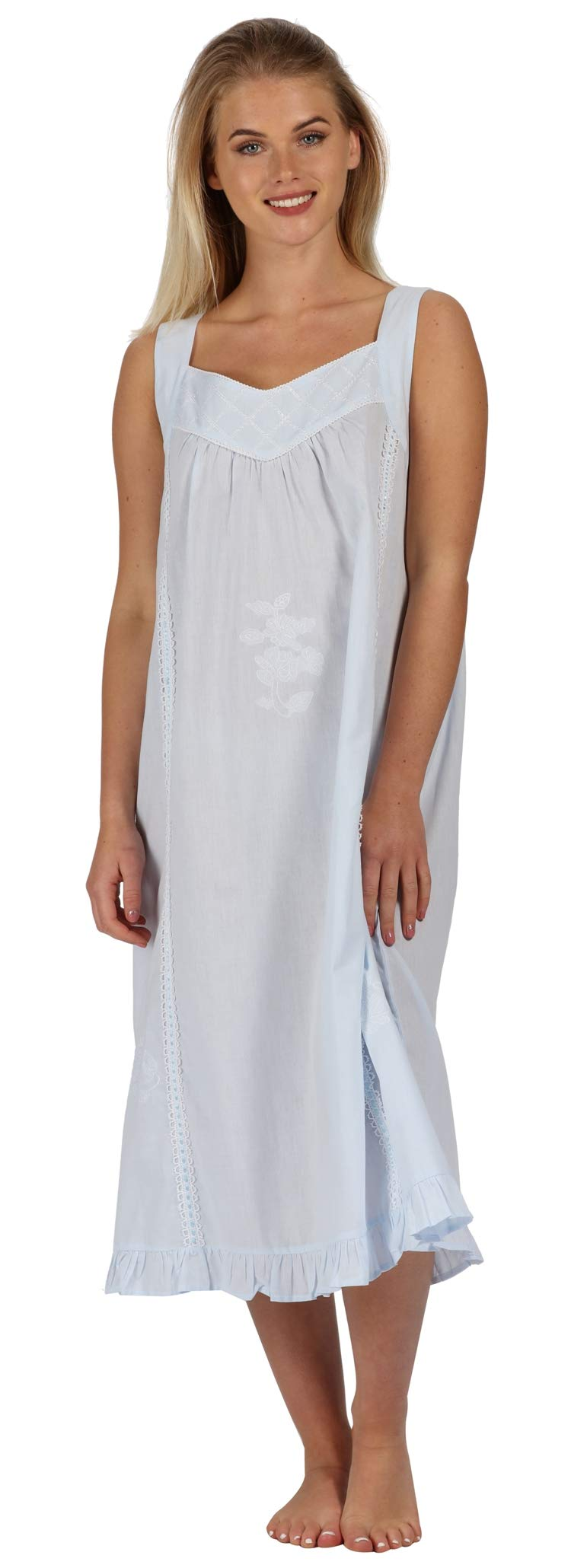 The 1 for U Nancy 100% Cotton Victorian Sleeveless Nightgown 7 Sizes
