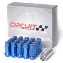 Circuit Performance Forged Steel Extended Hex Lug Nut for Aftermarket Wheels: 12x1.5 Blue - 20 Piece Set + Tool