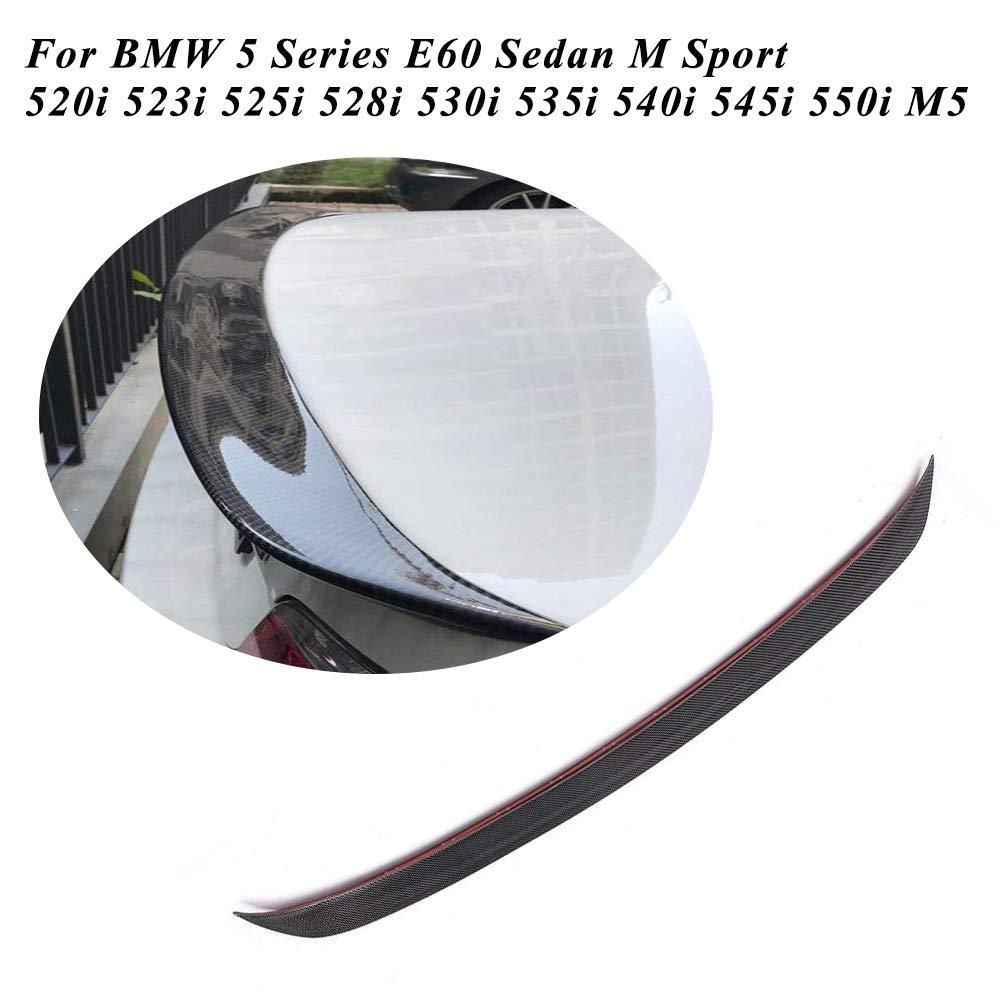 JC SPORTLINE E60 Rear Spoiler, fits BMW 5 Series E60 528i 535i 550i M5 Sedan 2003-2010 Carbon Fiber Rear Trunk Boot Lid CF Deck Lip Spoiler Wing