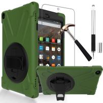 Gzerma Fire HD 8 Case 7th /8th Generation with Fire HD8 Screen Protector 2017 2018, 3in1 Shockproof Heavy Duty Cover with Hand Strap, Stylus Pen, Rotating Stand for Amazon Kindle Fire 8 (Green)