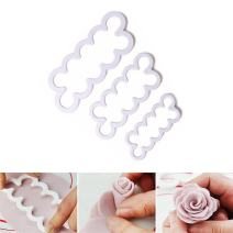 3Pcs 3D Rose Petal Cutter Cake Decorating Flower Fondant Mould