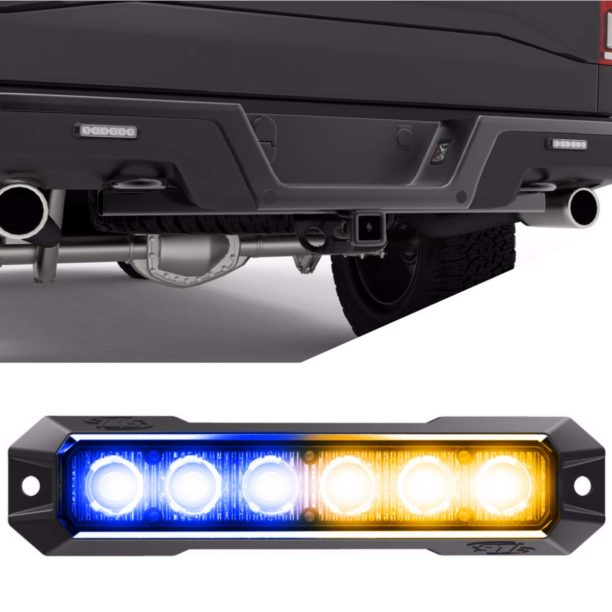 SpeedTech Lights Z-6 TIR 18W LED Strobe Light for Police Cars, Construction Trucks, Service Vehicles, Plows, Emergency Vehicles. Surface Mount Grille Flashing Hazard Beacon Light - Blue/Amber