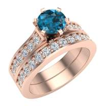 Wedding Rings for Women Bridal Set Blue Diamond Rings 14K Gold - 1.50 ctw Cathedral Style