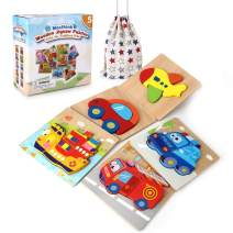 Mosthink Wooden Jigsaw Puzzles for Toddlers, 5 Pack Vehicle Puzzles for 1 2 3 Years Old Boys and Girls, Bright Vibrant Color ,Educational Toys for Kids with Drawstring Bag(Vehicle)