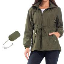 ZEALOTPOWER Women Pocket Jacket Waterproof Windbreaker Jackets Drawcord Packable Hooded Rain Coat