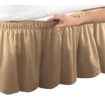 Collections Etc Wrap Around Bed Skirt, Easy Fit Elastic Dust Ruffle, Gold, Queen/King