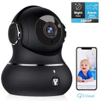 Pet Camera, Littlelf 1080P Indoor Wireless Home Security IP Surveillance Camera for Baby/Elder/Nanny Monitor with Motion Detection, 2-Way Audio, Manually Night Vision & Cloud Storage (Carbon Black)