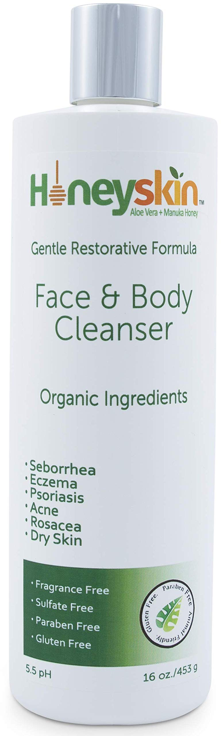 Face and Body Wash with Manuka Honey, Coconut Oil and Aloe Vera - Relieves Symptoms of Acne, Eczema, Rosacea, Psoriasis & Seborrheic Dermatitis - Treatment for Blemishes, Dry and Itchy Skin (16 oz)