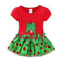 Mud Kingdom Cute Toddler Girl Christmas Dress Red Christmas Tree Costume
