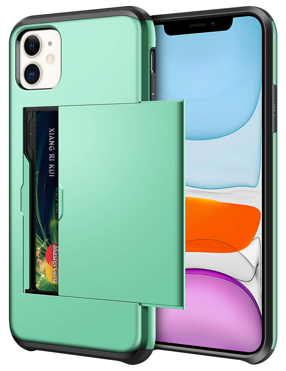 SAMONPOW Wallet Case for iPhone 11 Case with Card Holder Dual Layer Hybrid Shell Heavy Duty Protection Shockproof Anti Scratch Soft Rubber Bumper Cover Case for iPhone 11 6.1 inch Mint