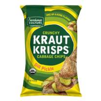 Dill Pickle Kraut Krisps by Farmhouse Culture, Crunchy Cabbage Chips, Organic, Vegan, Gluten Free, No Added Sugars, Family Size Bag, 11 oz