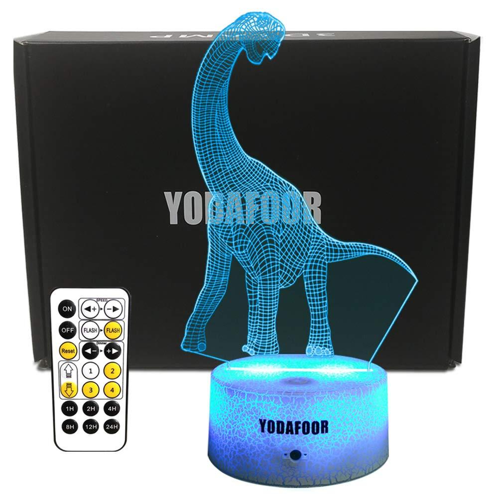 YODAFOOR 3D Brachiosaurus Dinosaur Night Lights Toy for Kids Baby Teen Children Illusion lamp, Great Birthday Party Christmas Xmas Dinosaur Gift for Teens, Multi Color Remote Lamp Room Decor