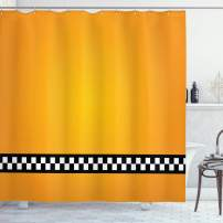 """Ambesonne Yellow Shower Curtain, Taxi Cab Car Yellow with The Line of Checkers Classical Print, Cloth Fabric Bathroom Decor Set with Hooks, 70"""" Long, Orange White"""