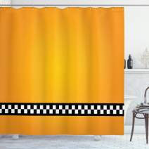 "Ambesonne Yellow Shower Curtain, Taxi Cab Car Yellow with The Line of Checkers Classical Print, Cloth Fabric Bathroom Decor Set with Hooks, 70"" Long, Orange White"