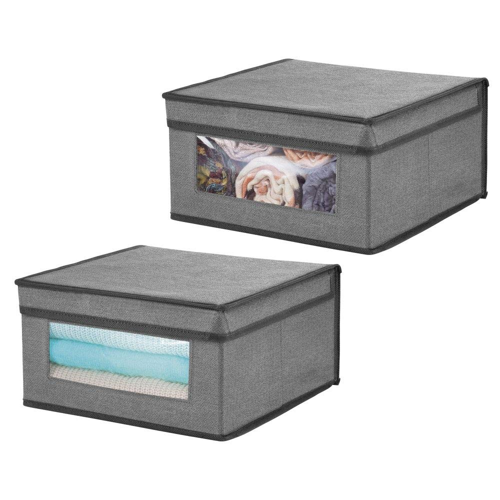 mDesign Soft Stackable Fabric Closet Storage Organizer Holder Bin with Clear Window, Attached Hinged Lid - for Bedroom, Hallway, Entryway, Bathroom - Textured Print - Medium, 2 Pack - Charcoal/Black