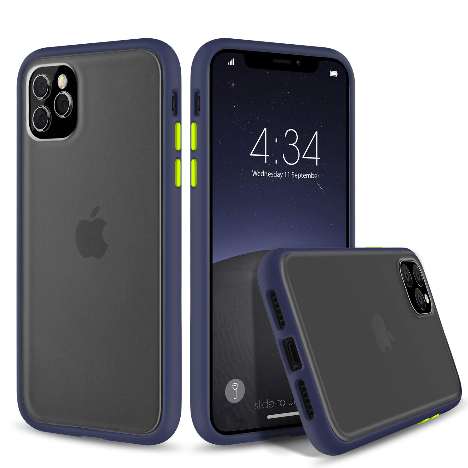 abitku Slim Fit for iPhone 11 Pro Max Case 6.5 Inch, Translucent Matte Back [Shockproof and Anti-Drop Protection] Cover Frosted Case for iPhone 11 Pro Max 6.5 inch 2019 (Blue)