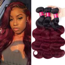 Black Rose Hair Body Wave Brazilian Ombre Human Virgin Remy Hair Bundles Extension Color 1b/99j Burgundy Hair Weaves (Pack of 3, 16 18 20)