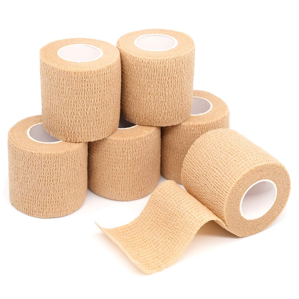 FriCARE Nonwoven Cohesive Bandage, Self-Adherent Cohesive First Aid Medical Wrap, Elastic Althetic Prewrap Vet Tape 2 Inches Wide (Skin Color, 6 Pack)