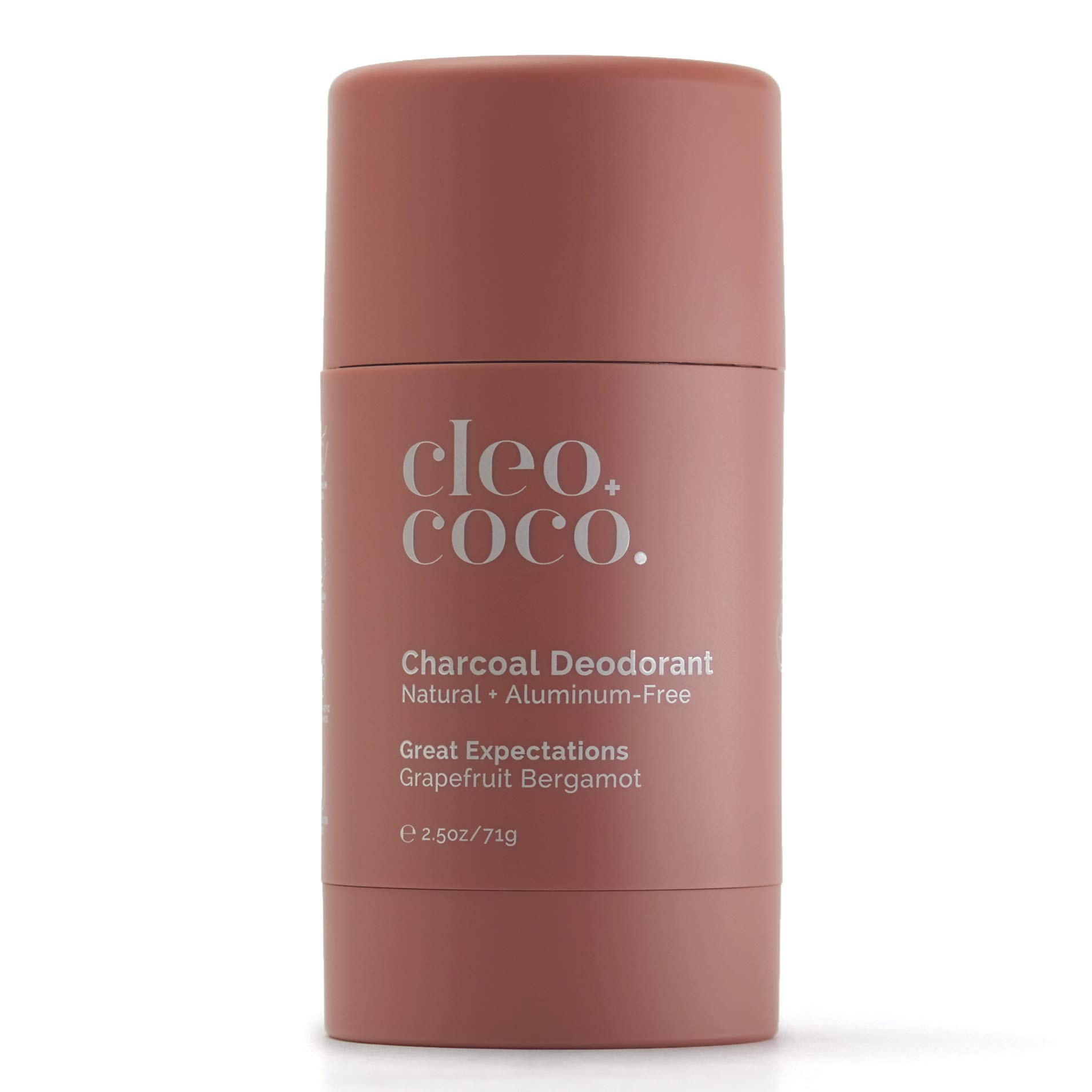 Cleo+Coco Natural Deodorant for Women, Aluminum Free made with Organic Coconut Oil, Activated Charcoal for 24-Hour Odor Protection, All-Day Performance, Made in the USA - Grapefruit Bergamot 2.5oz