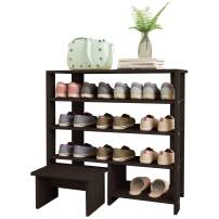 Jerry & Maggie - 4 Tier Wood MDF Shelf Shoe Rack with One Footstool/Shoe Storage Shelves Free Standing Flat Shoe Racks Classic Style -100% Multi Function Shelf Organizer - Black