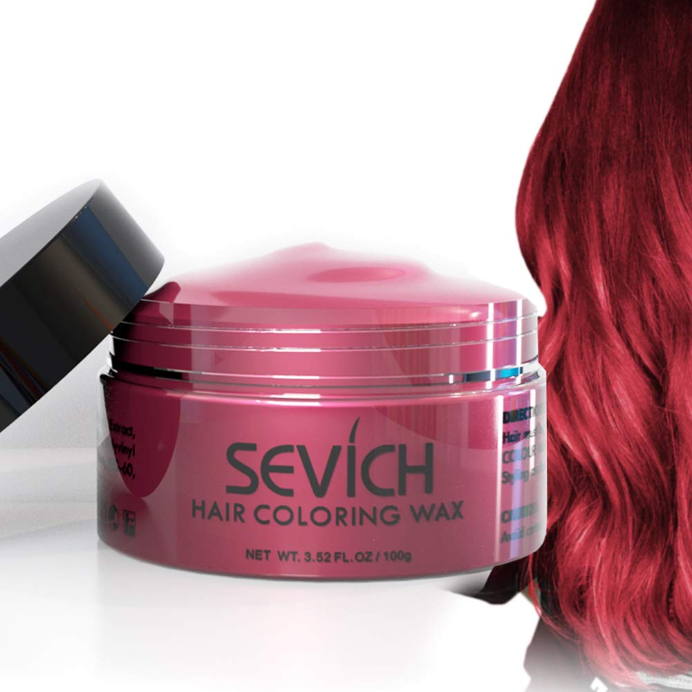 Color Hair Wax - Sevich Hair Style Dye Mud, Instantly Natural Hair Color, Natural Ingredients Washable, Temporary 100g/3.57Oz Red