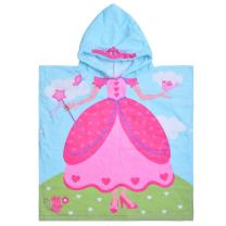 """Hooded Bath Towel Princess for Girls Kids Toddlers 2 to 6 Years Old, Cotton Ultra Soft Absorbent Poncho Beach Towel for Pool Swim Pink 23"""" x 24"""" Princess Theme"""