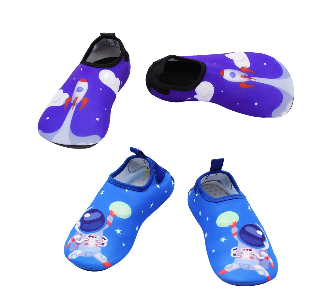 2 Pairs Swim Beach Water Shoes Baby Boys Girls Toddler Quick Dry Barefoot Socks Shoes for Beach Walking Pool Surfing,Blue 30/31