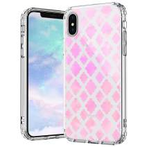 MOSNOVO iPhone Xs Max Case, Flower Diamond Pattern Printed Clear Design Transparent Plastic Hard Back Case with TPU Bumper Protective Case Cover for iPhone Xs Max