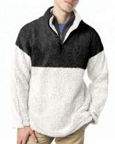 Mens Sherpa Pullover 1/4 Zip Fuzzy Fleece Sweatshirt Kangaroo Stand Collar Color Block Fall Winter Casual Warm Outerwear