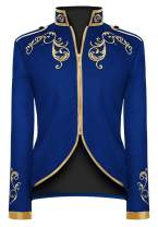 H&ZY Men's Stylish Court Prince Vintage Black Jacket Gold Embroidered Jacket Suit Costume