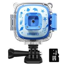 Dragon Touch Kidicam 2.0 Kids Action Camera, Waterproof Digital Camera for Boys Girls 1080P Sports Camera Camcorder with 16GB Memory Card (Blue)