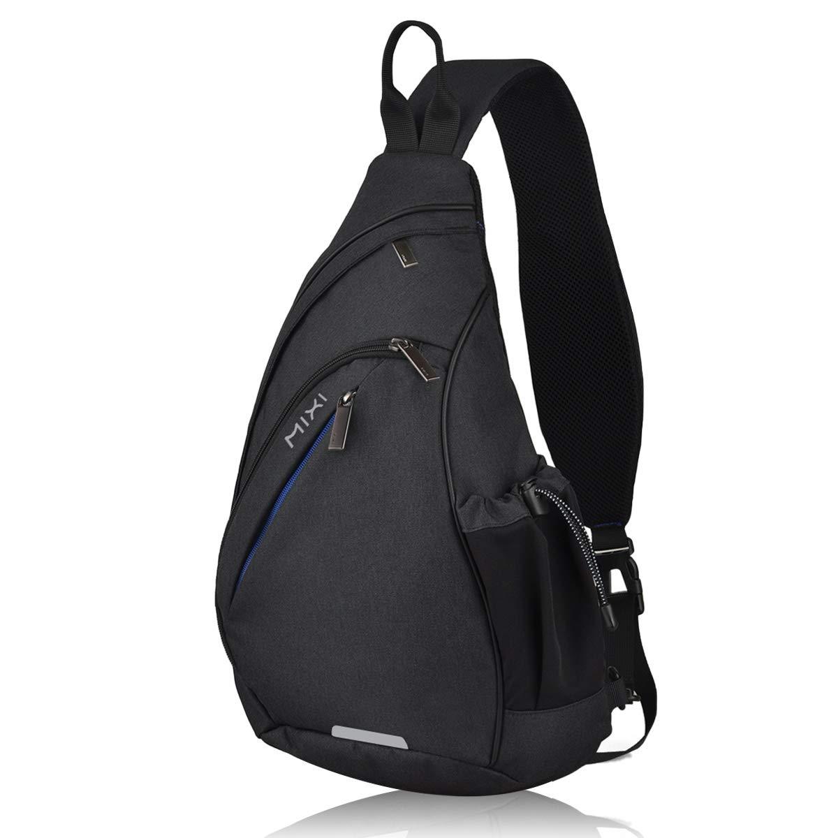 Hanke Sling Bag with USB Port Water Repellent Crossbody Personal Pocket Bag Lightweight Chest Bag for Cycling Walking Hiking Daypacks-19 inch,Black