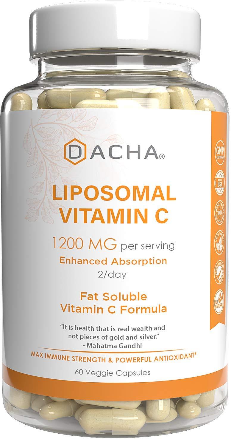 DACHA Nutrition Natural Liposomal Vitamin C - Immune System & Collagen Booster, High Absorption Fat Soluble VIT C, Buffered 1200mg, Anti Aging Skin Vitamins, Anti Inflammatory, Sunflower Lecithin