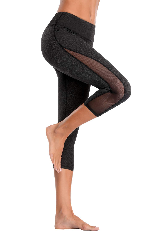 CharmLeaks Womens Yoga Pants Athletic Capris High Rise Running Leggings