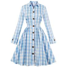 Women 50s Dress Plaid Pleated Waist Swing 1950s Vintage Dress with Pocket