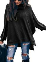 ETCYY Women's Turtleneck Waffle Knit Sweaters Batwing Lantern Sleeve Pullover High Low Hem Side Slit Tunic Jumper Tops