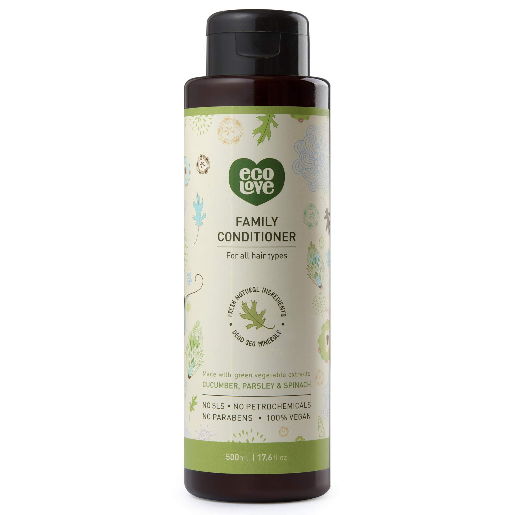 ecoLove Organic Conditioner with Cucumber Spinach and Parsley for All Hair Types Vegan Hair Conditioner for Women Men Kids Babies, SLS Paraben and Cruelty Free, 17.6 oz