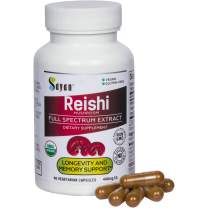 Sayan Reishi Mushroom Extract Capsules - 90 Vegan Caps USDA Organic, Pure No Fillers - Helps Lower Fatigue, Boost Wellness, Energy Level, and Immune Defense - Heart Health Support Supplement
