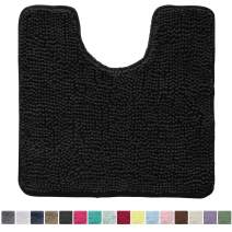 Kangaroo Original Shaggy Chenille Toilet Bath Rug, Oval U-Shape Contour Mat for Toilet, Washable, Mats Contoured for Toilets, Soft, Plush Carpet Rugs for Kids Tub, Shower, and Bathroom, Black