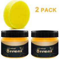 Wood Seasoning Beeswax Furniture Polish Natural Non Toxic Beautify Wood Floor Protector Cleaner Restoration All-Purpose Wood Wipes Conditioner (2pc)