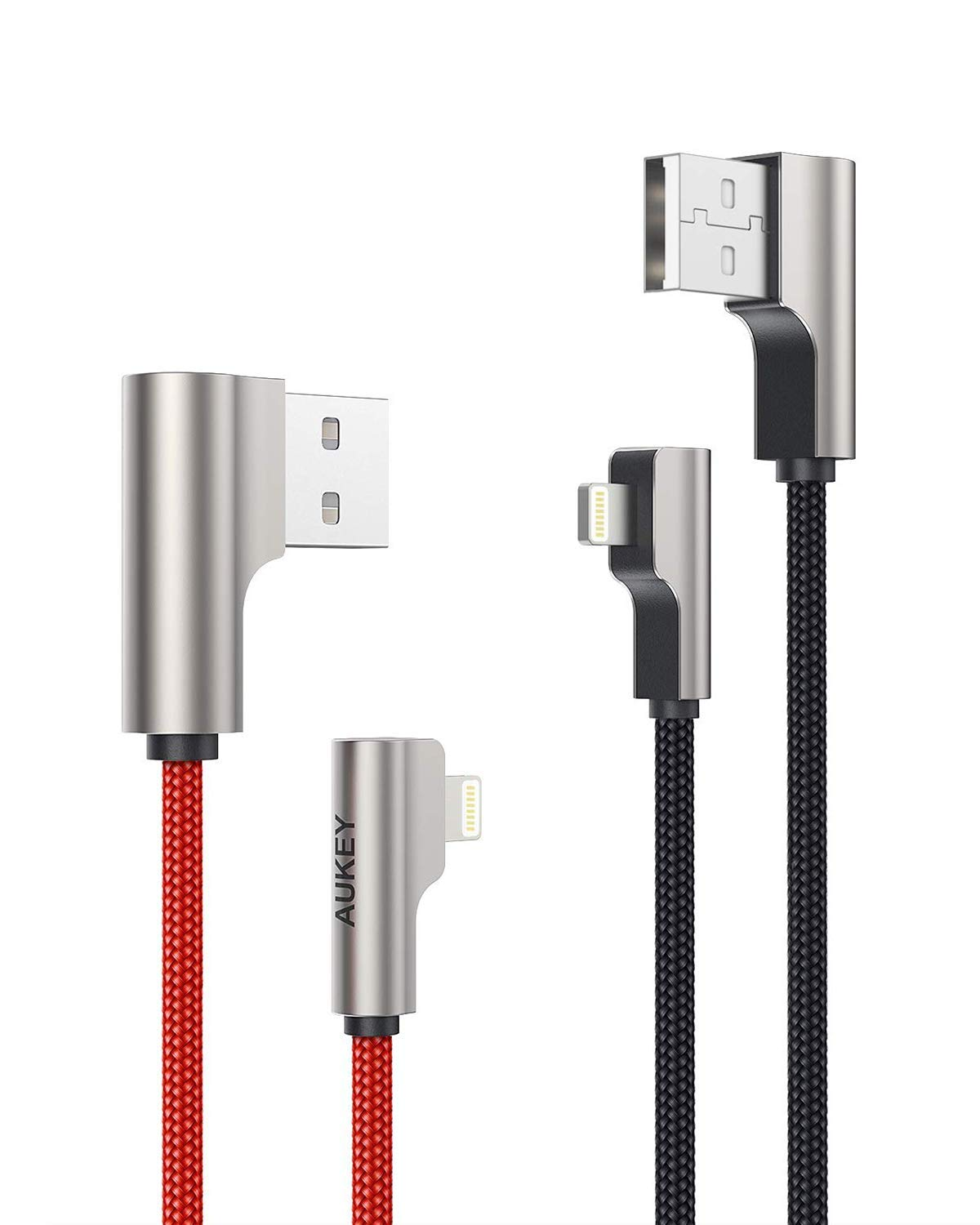 AUKEY Right Angle Lightning Cable 3.3ft (2 Pack) Nylon Braided [ Apple MFi Certified ] Ideal for Playing Games iPhone Charging Cable Compatible with iPhone 11 / X / 8, iPad and Other Apple Devices