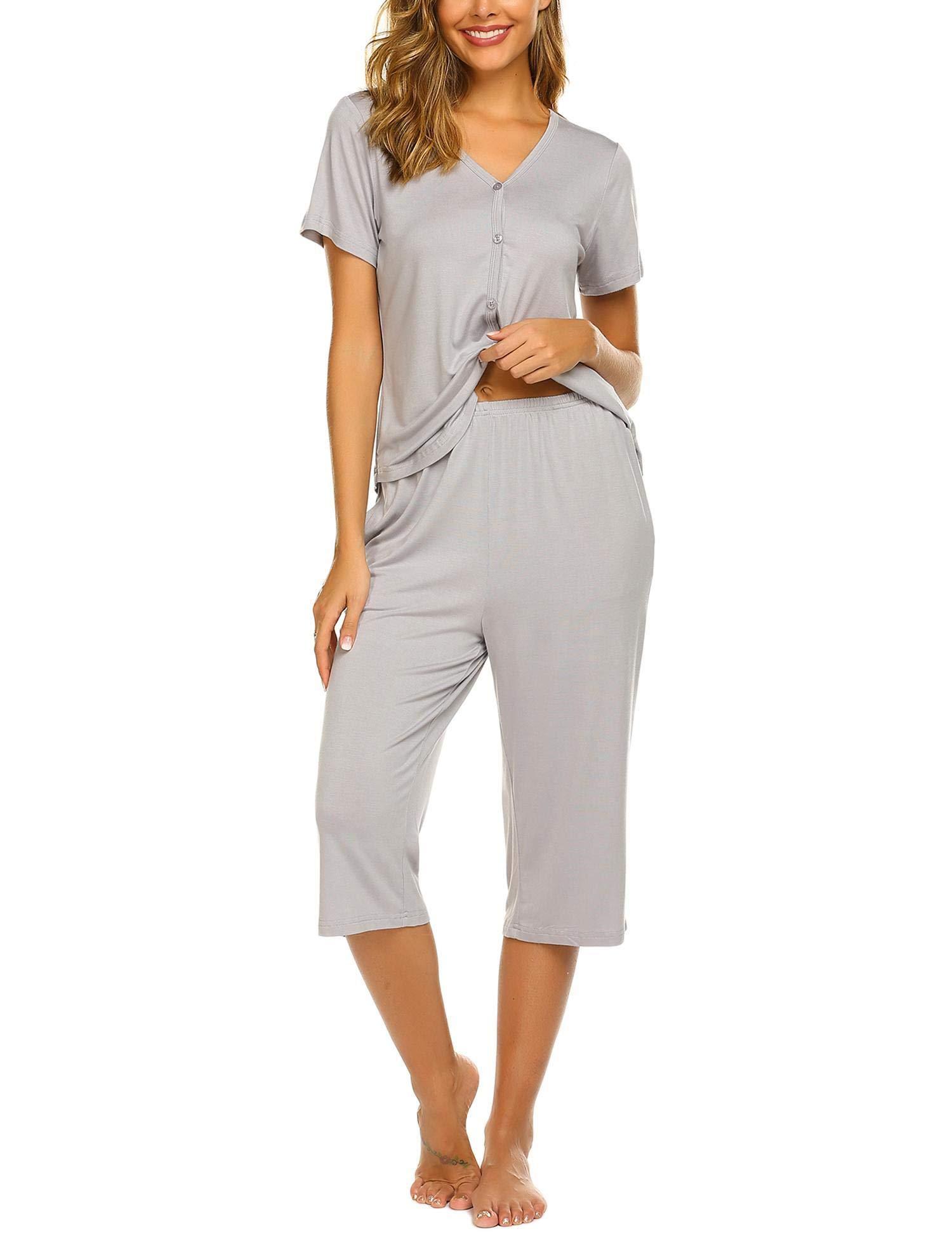 Ekouaer Pajamas Set Short Sleeve Sleepwear Womens Button Up Top and Capri Pajama PJ Set S-XXL