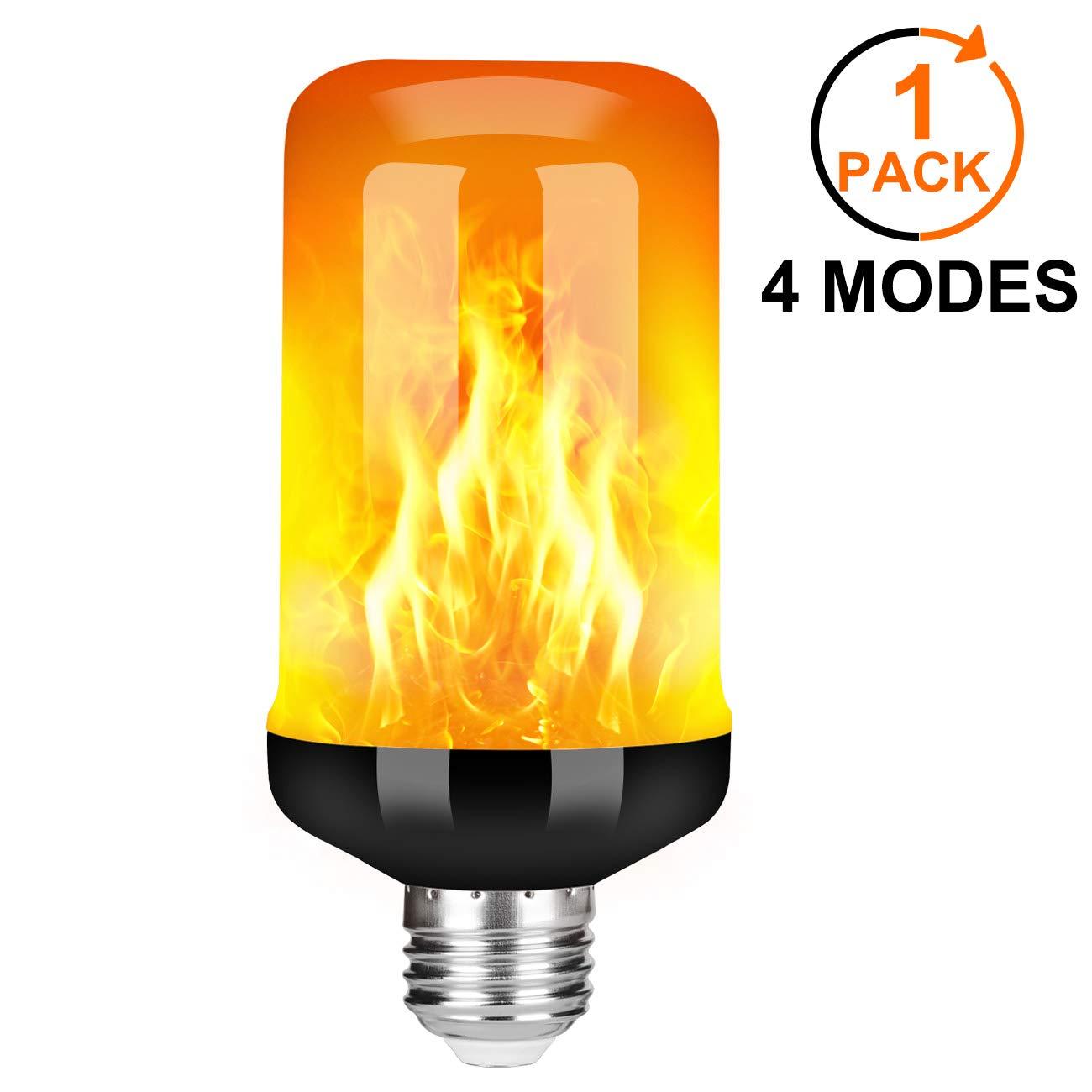 Y- STOP LED Flame Effect Fire Light Bulb - Upgraded 4 Modes Flickering Fire Christmas Decorations Lights - E26 Base Flame Bulb with Upside Down Effect (Black-1 Pack)